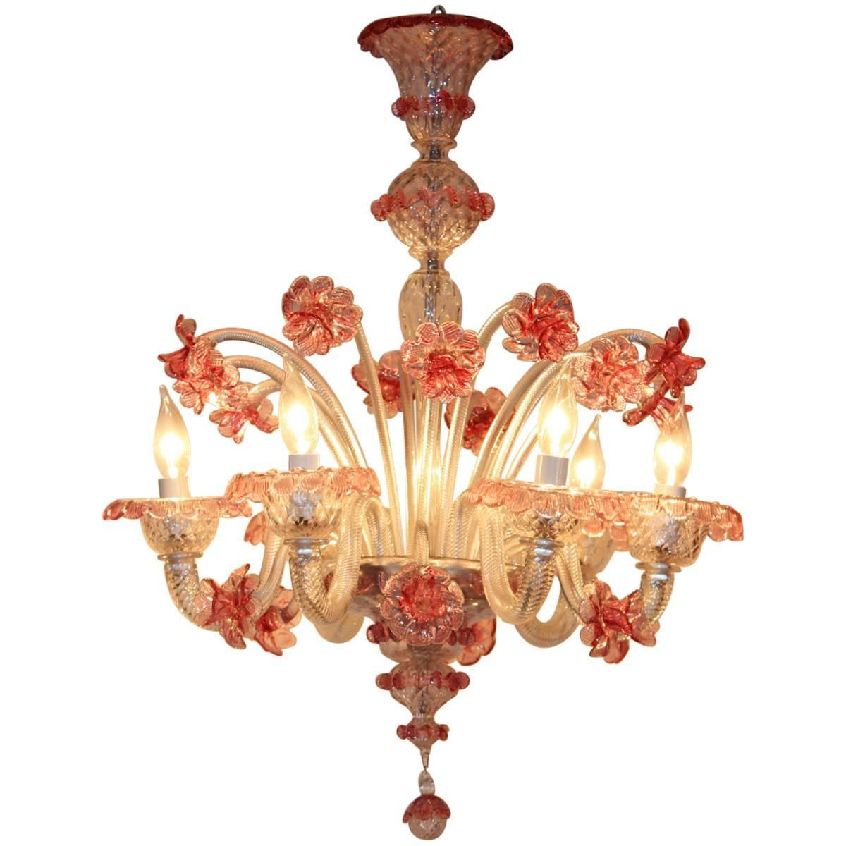 Venetian glass six light handmade chandelier for sale at for Unique chandeliers for sale