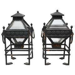 Pair of Iron Pillar Pagoda Lanterns