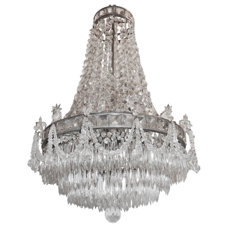 Wonderful French Silvered Bronze Graduated Crystal Tier Waterfall Chandelier For Sale