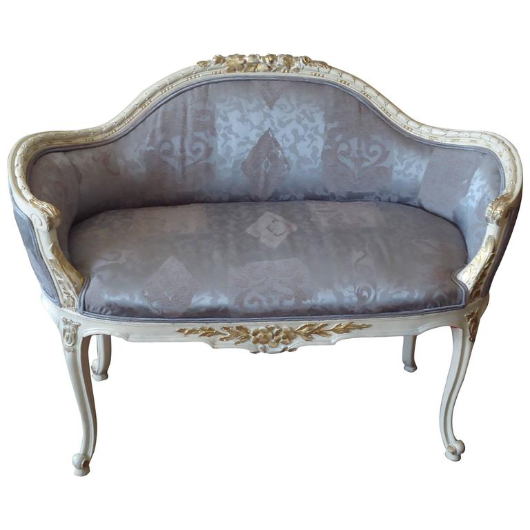 Lovely Small Antique French Settee Loveseat For Sale