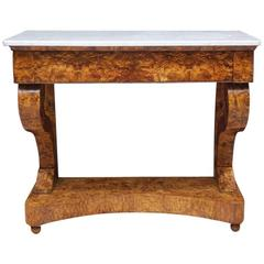 Antique Swedish Empire Burl Olive-Ash Console with Carrara Marble, circa 1810