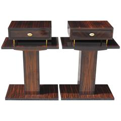 Grand Pair French Art Deco Exotic Macassar Ebony Night Tables, End Tables, 1940s