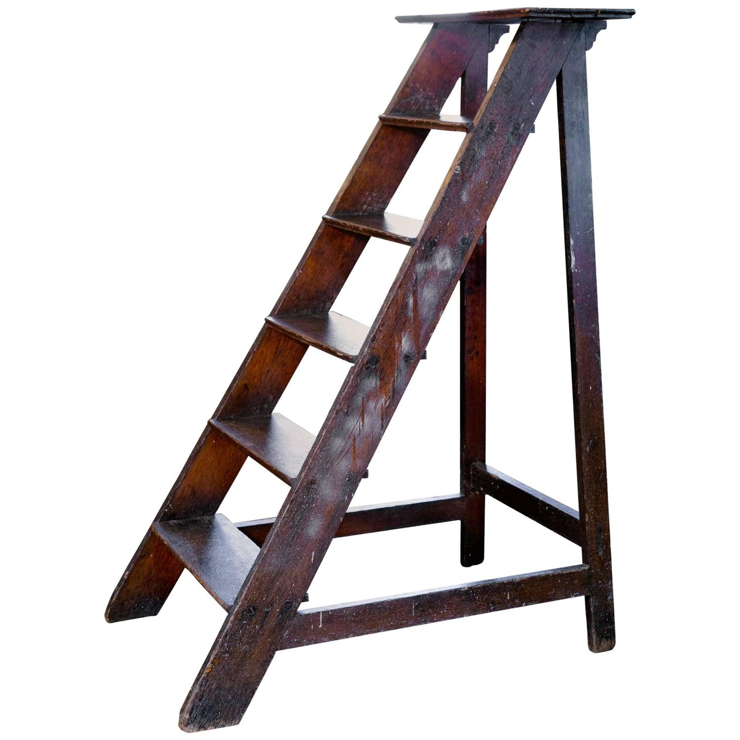 Antique Wooden Library Ladder From Belgium At 1stdibs