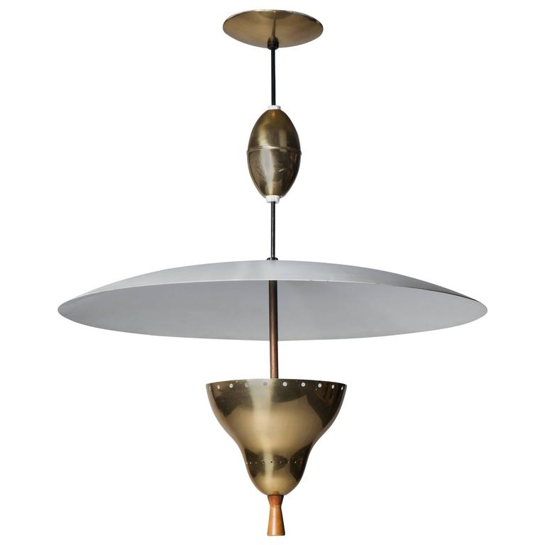 Mid Century Modern Lightolier Brass and Wood Pulley Light, Circa 1950