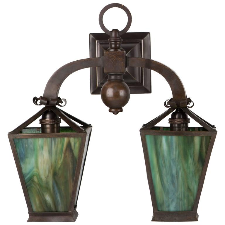Art Glass Wall Lights: Arts And Crafts Green Art Glass And Brass Sconces, Circa