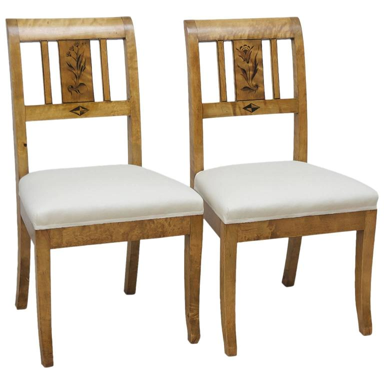 Pair of Swedish Art Deco Side Chairs in Birch with Black Stenciled Flowers For Sale
