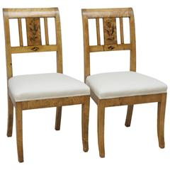 Pair of Swedish Art Deco Side Chairs in Birch with Black Stenciled Flowers