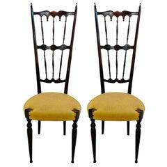 Pair of Italian High Back Lacquer Chiavari Chairs