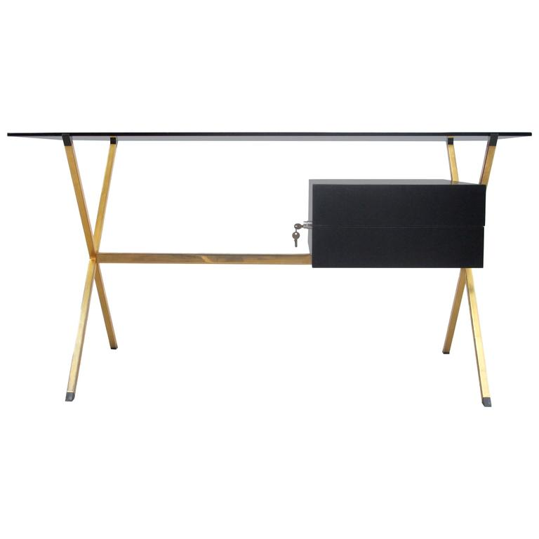 1970 Franco Albini Brass And Ebonized Wood Desk For Knoll