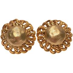 1980s Chanel Round Dome Chain Earrings