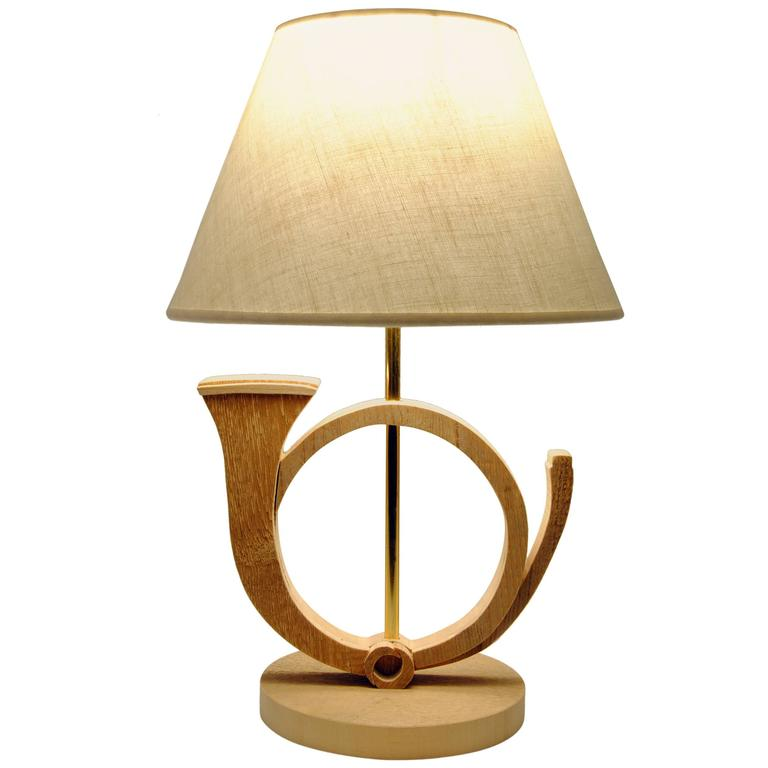 Wood Horn Table Lamp By Michelangeli, Italy 1