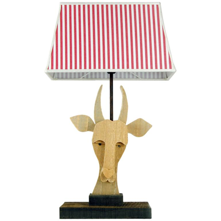 natural wood goat table lamp by michelangeli italy for sale at 1stdibs. Black Bedroom Furniture Sets. Home Design Ideas