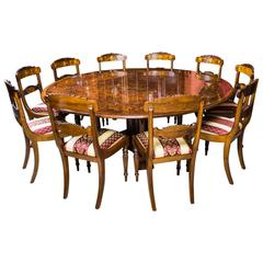 Burr Walnut Jupe Dining Table and Ten Chairs