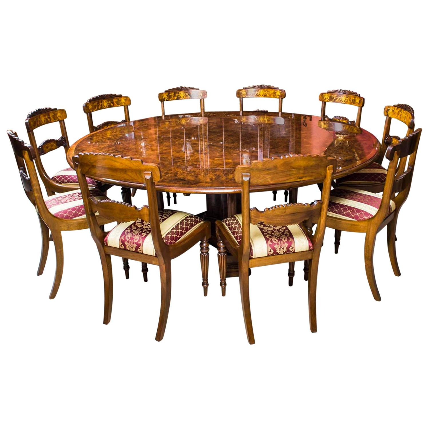 Burr Walnut Jupe Dining Table And Ten Chairs At 1stdibs