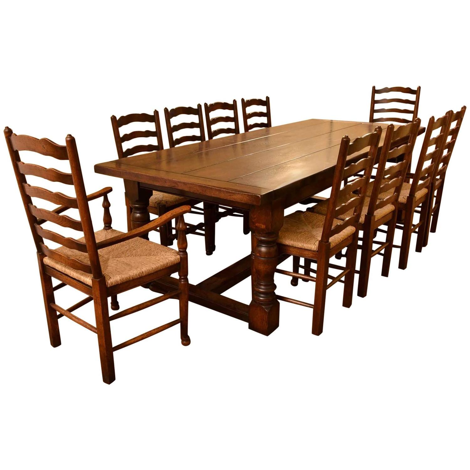 bespoke solid oak refectory dining table and ten chairs