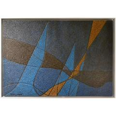 1970s Abstract Composition Painting by Yan Morvan
