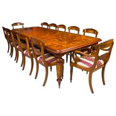 Victorian Style Marquetry Dining Table and 12 Chairs