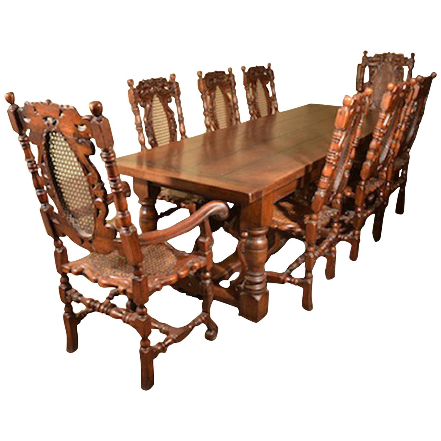 solid oak refectory dining table and eight carolean chairs for sale at