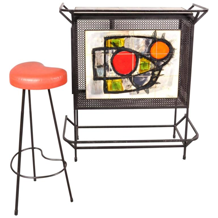 Bar And Stool By Belarti Belgium Circa 1950 For Sale At
