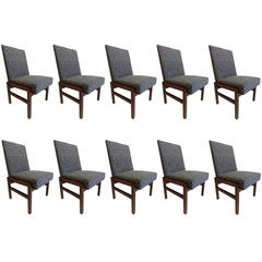 Ten Sober French 1930s Style Dining Chairs in the Style of Jean-Michel Frank