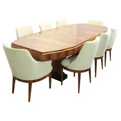 Art Deco Dining Table and Eight Chairs, French, circa 1920