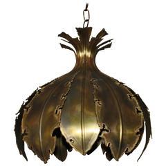 20th Century Tulip Brass Brutalist Lamp