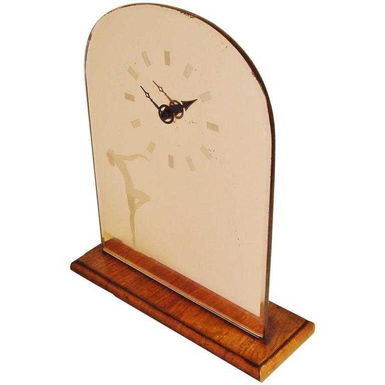 English Art Deco Wood & Peach Mirror Mantel Clock with Etched Nude & Numerals For Sale