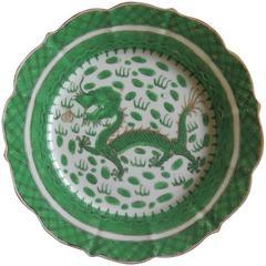 19th Century Chinese Famille Verte Plate, Polychrome Enamel Dragon, Qing