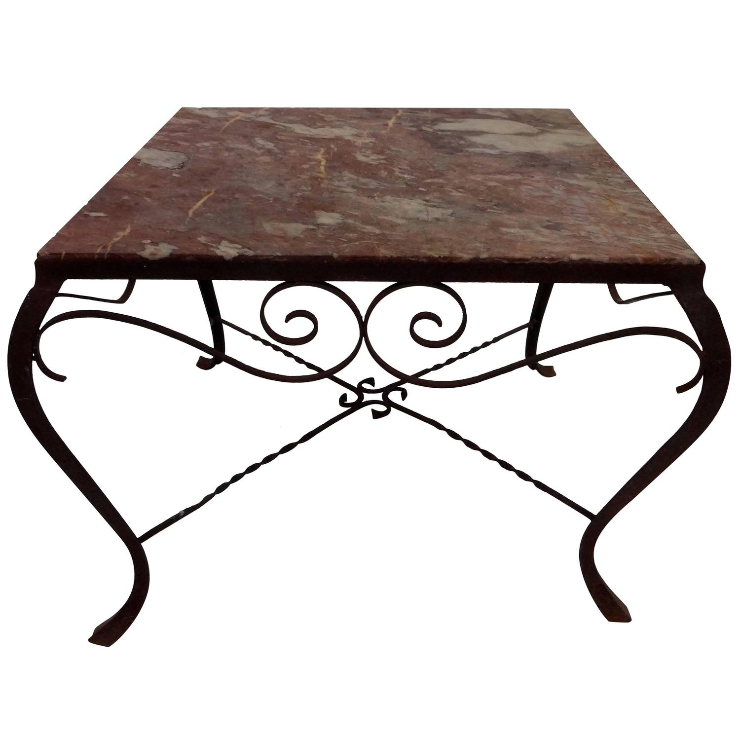 French wrought iron marble top coffee table at 1stdibs for Square wrought iron coffee table