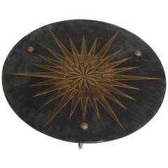 Andre Arbus Attr. Sun Glass Bronze Tripod Table Deco, Mid Century, France, 1950