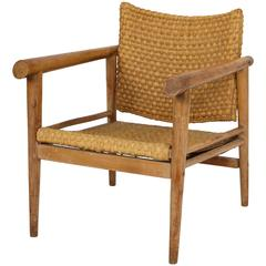Straw Wicker Woven Rush Chair Mid Century Attr. Jean Michel Frank, 1930 France