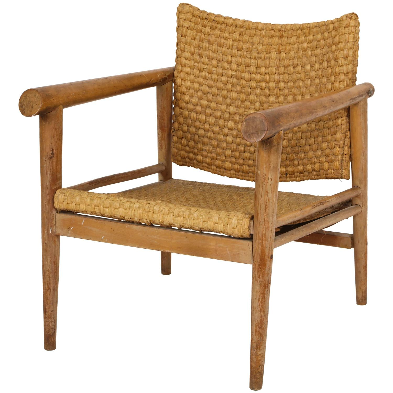 Straw Wicker Woven Rush Chair Mid Century Attr. Jean Michel Frank, 1930  France For Sale At 1stdibs