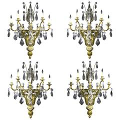 Palatial Set of Four Late 19th Century Bronze and Baccarat Crystal Sconces