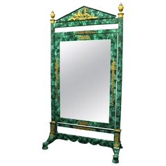 19th Century Gilt Bronze-Mounted Napoleon III Malachite Dressing Mirror