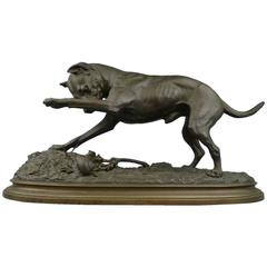 Bronze Sculpture of a Jack Russell Terrier Dog and Snail by F. F. Steenackers