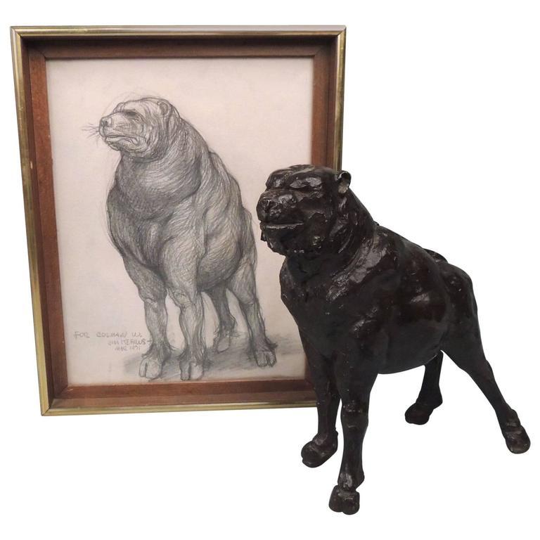 """Prince"" a Modernist Fantasy Dog Bronze Sculpture with Sketch by J. J. Kearns"