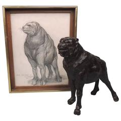 """Prince"" a Modernist Fantasy Dog Bronze Sculpture with Sketch by J. J. Kearns"