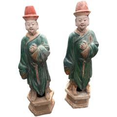 Chinese Court Men Antique Pair Handsome 400 Year Old Sculptures