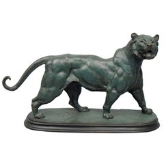 Large French Animalier Bronze Lion Sculpture After Paul-Edouard Delabrierre