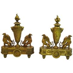 Pair of 19th Century Louis XIV Style Andirons Attributed to Barbedienne