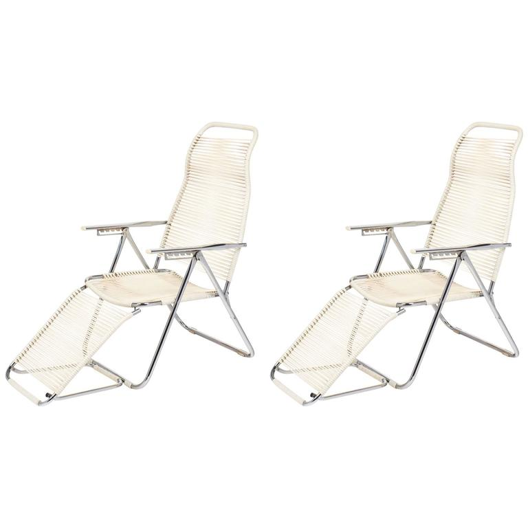 "Pair of French Vintage Adjustable ""Chaises Longues"""