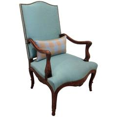 French Louis XV Style Carved Beech Wood Fauteuil
