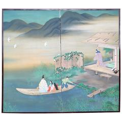 Japanese Fine Screen Boating, Birds, Mountains and Placid Lake Lovely Blue Color