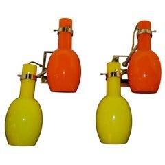 Stilnovo Sconces with Orange and Yellow Murano Glass Shades