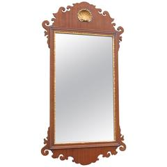Friedman Brothers Chippendale Mahogany Mirror with Gold Shell Detail