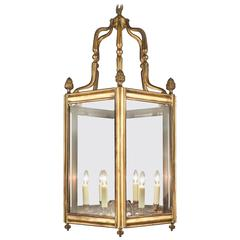 Antique French Louis XVI Style Lantern in Solid Brass