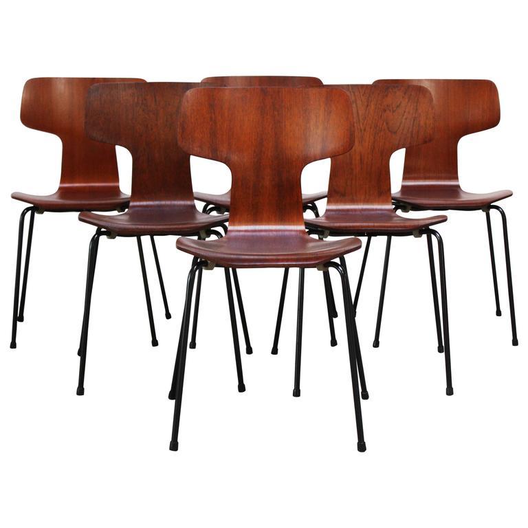 Set Of Six Arne Jacobsen For Fritz Hansen Teak Stacking Chairs #3103 For  Sale