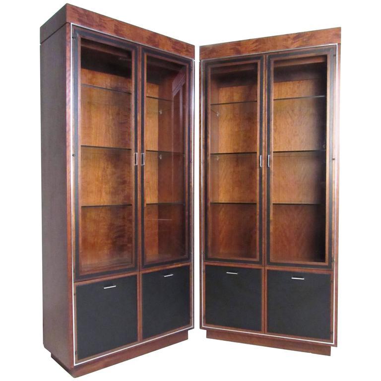 John Stuart Leather Front Vitrine Display Cabinet for Founders