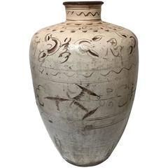 Large 14th Century Large Chinese Ceramic Wine Storage Jar