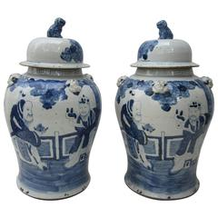 Large Pair of Chinese Blue and White Jars